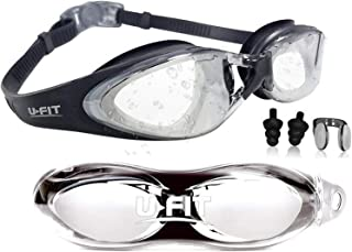 Swim Goggles | Swimming Goggles For Men Women Adults - Best Non Leaking Anti-Fog UV Protection Clear Vision - Free Goggle Case Nose and Ear Plugs Black Clear | U-FIT