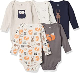 Hudson Baby Unisex Baby Cotton Long-Sleeve Bodysuits, Forest, 9-12 Months