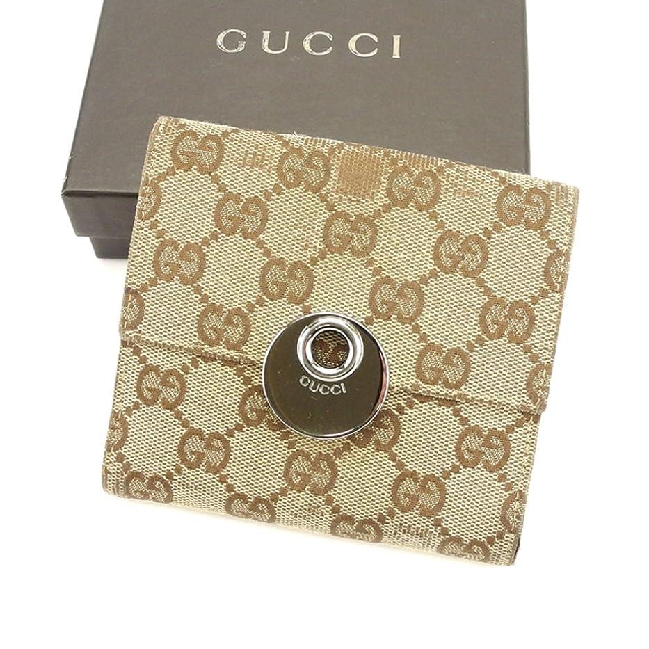 叫び声後ろ、背後、背面(部エキサイティング(グッチ) Gucci Wホック財布 二つ折り 財布 ベージュ GG柄 レディース メンズ 可 中古 T6181