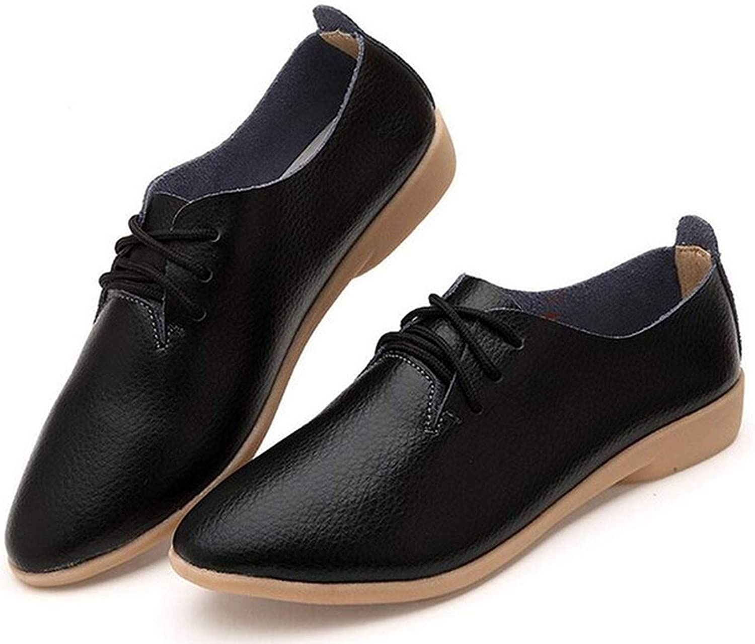 Baixa Genuine Leather Oxford shoes for Women Round Toe Lace-Up Casual shoes Spring and Autumn Flat Loafers shoes