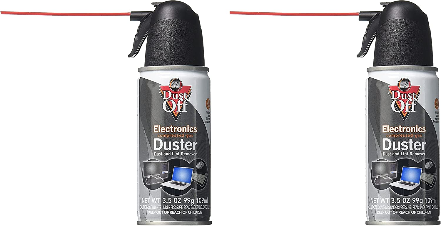 Dust, Off Compressed Gas (152a) Disposable Cleaning Duster, 2 Count (3.5 oz - Black)
