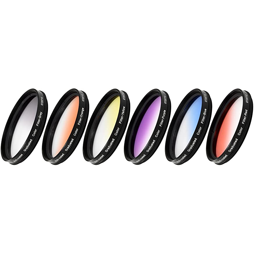 Vivitar 6-Piece Multi-Coated Rotating Graduated Color Filter Set (52mm) Includes: Red, Yellow, Blue, Orange, Grey & Purple bc63918901