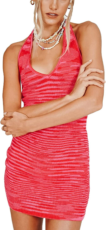 Women Sexy Tie Dye Rib Knit Dresses Slim Halter Backless Deep V Neck Y2k Style Short Dress