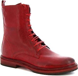 Leonardo Shoes Stivaletti Donna Fatti a Mano con Lacci Pelle di Vitello Rossa - Codice Modello: 612 ROK Rosso