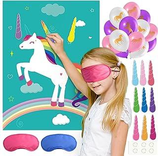 FEPITO Pin das Horn auf dem Einhorn Geburtstag Party Spiel mit 24 Hörnern und 15PCS Einhorn Ballons für Einhorn Party Vorräte, Kinder Geburtstag Party Dekorationen