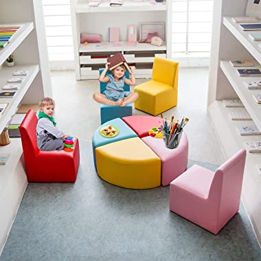 Kinsuite Kids Sofa Seating Set Convert to Table and 4 Chairs Colorful Stools for Toddlers Soft Foam Play 8 PCs Set for Classr