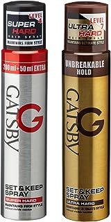 Gatsby Set and Keep Super Hard Hair Spray, 250ml with Ultra Hard Hair Spray, 250ml