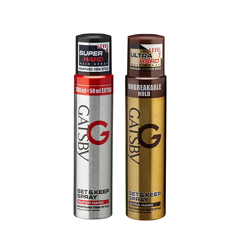 殺人者銃編集者Gatsby Set and Keep Super Hard Hair Spray, 250ml with Ultra Hard Hair Spray, 250ml