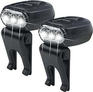 FISHNU 2pcs Thumb Size Cap Lamp,3 Led Baseball Hat Visor Light,360° Rotating 90°Adjustable Ball Cap Clip Light(2 Pack)