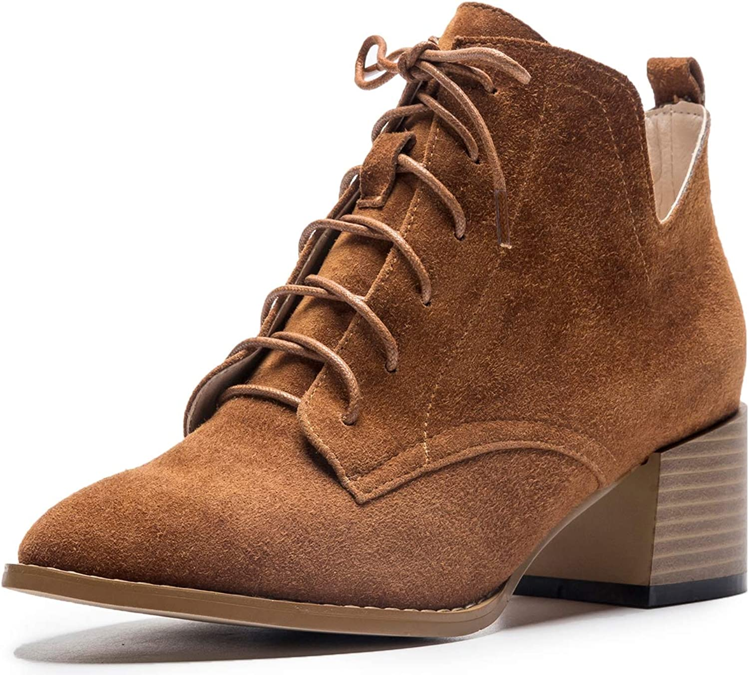 U-lite Womens Casual V-Shape Ankle Open Lace Up Ankle Martin Booties Chukka Boots