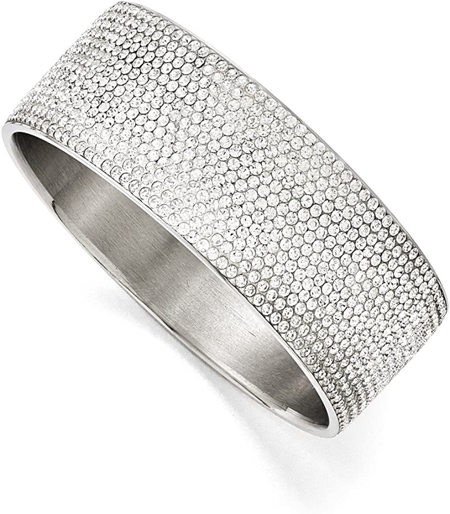 Solid Stainless Steel White Enamel Crystals Wide Flat Bangle Cuff Bracelet (Width = 28mm)