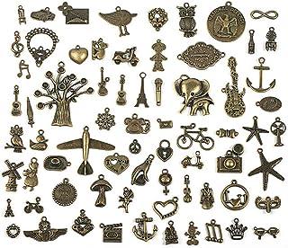 70 Piezas de Bronce Antiguo Retro Conjunto de Joyas Accesorios Hechos a Mano Collar de diy Colgante de Joyería que Hace Suministros, Fabricación de Joyas, Colgante Clave