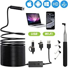 XpertMatic F160 Endoscope, WiFi/USB Borescope 16.4ft Focal Distance, 2.0 MP HD Waterproof Inspection Snake Camera with 8 LEDs for iPhone and Android Phone, PC, MacBook - 16.4ft Semi-rigid