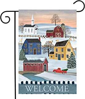 "Briarwood Lane Winter Saltboxes Primitive Garden Flag Welcome 12.5"" x 18"""