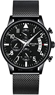 Men's Watch Deep Blue/Black Watch Ultra Thin Wrist Watches for Men Fashion Watch Waterproof Dress Stainless Steel Band