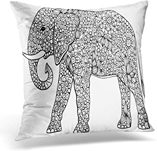 Emvency Throw Pillow Cover Drawing Animal Doodle Outline Elephant Decorated Abstract Zentangle Ornaments Decorative Pillow Case Home Decor Square 18
