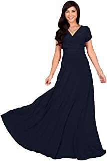 d55cc5c9c8c9 KOH KOH Womens Sexy Cap Short Sleeve V-Neck Flowy Cocktail Gown