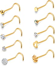 JOERICA 10 Pcs 20G Stainless Steel Screw Nose Studs Rings CZ Labret Silver Gold Nose Stud Piercing Jewelry Set