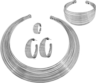 Aowaxbin African Gold Plated Collar Choker Necklace Hoop Earrings Cuff Bangle Bracelet Ring Set Jewelry For Women