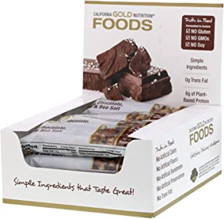 California Gold Nutrition Gold Bar Dark Chocolate Nuts Sea Salt Bar 12 Bars 1 4 oz 40 g Each, Milk-Free, Egg-Free, Fish-Fr...