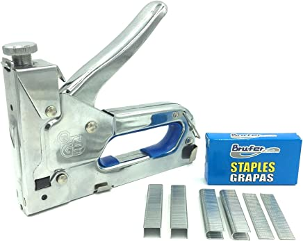 BRUFER 71066 Heavy Duty 3-in1 Stainless Steel Staple Gun Kit