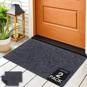 """ROSMARUS Front Door Mat Outdoor Indoor Doormat Welcome Mats Outside Entrance Shoe Boot Matt Tray for Entryway Garage Floor Mat RV Rug Patio Carpet with Rubber Backing,18""""X30"""",Grey,2 Pack"""