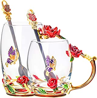 Glass Tea Cups With Spoon Set of 2, Glass Coffee Unique Handmade Mugs Gift For Women