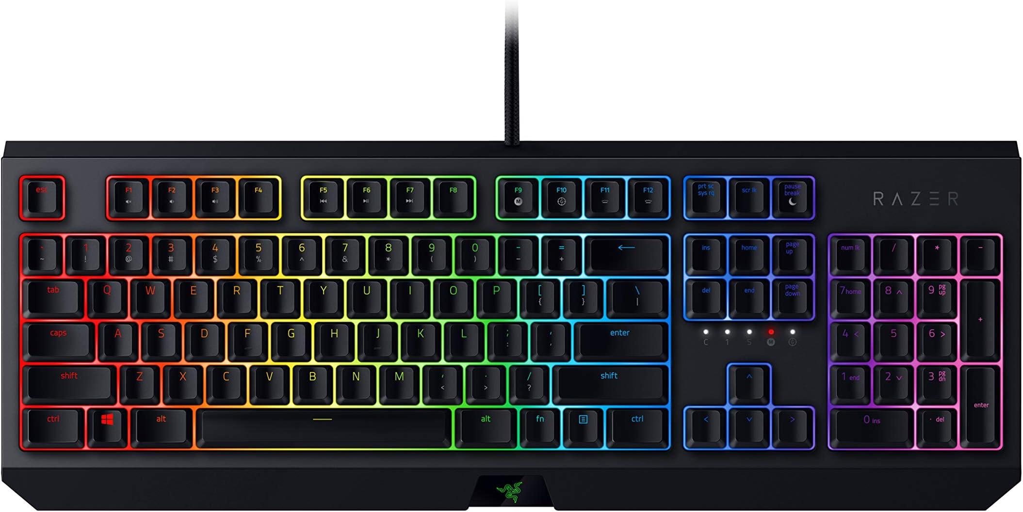 Razer BlackWidow Mechanical Gaming Keyboard: Green Mechanical Switches - Tactile & Clicky - Chroma RGB Lighting - Anti-Ghosting - Programmable Macro Functionality