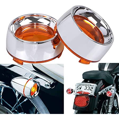 Chrome Front Visor Bullet Turn Signals Light Amber Len for Harley Chopper Bobber
