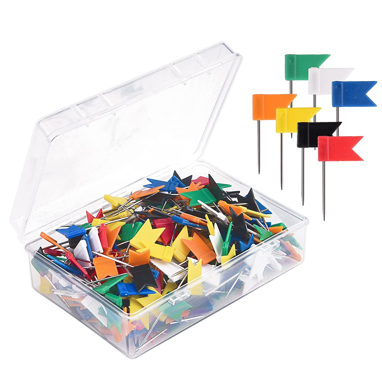 Sunmns 300 Pieces Map Flag Push Pins Tacks, Assorted 7 Colors
