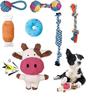 Puppy Toys for Small Dogs, 7 Pack Small Dog Teething Chew Toys, Durable Plush Squeaky Dog Toys, 100% Natural Cotton Rope P...