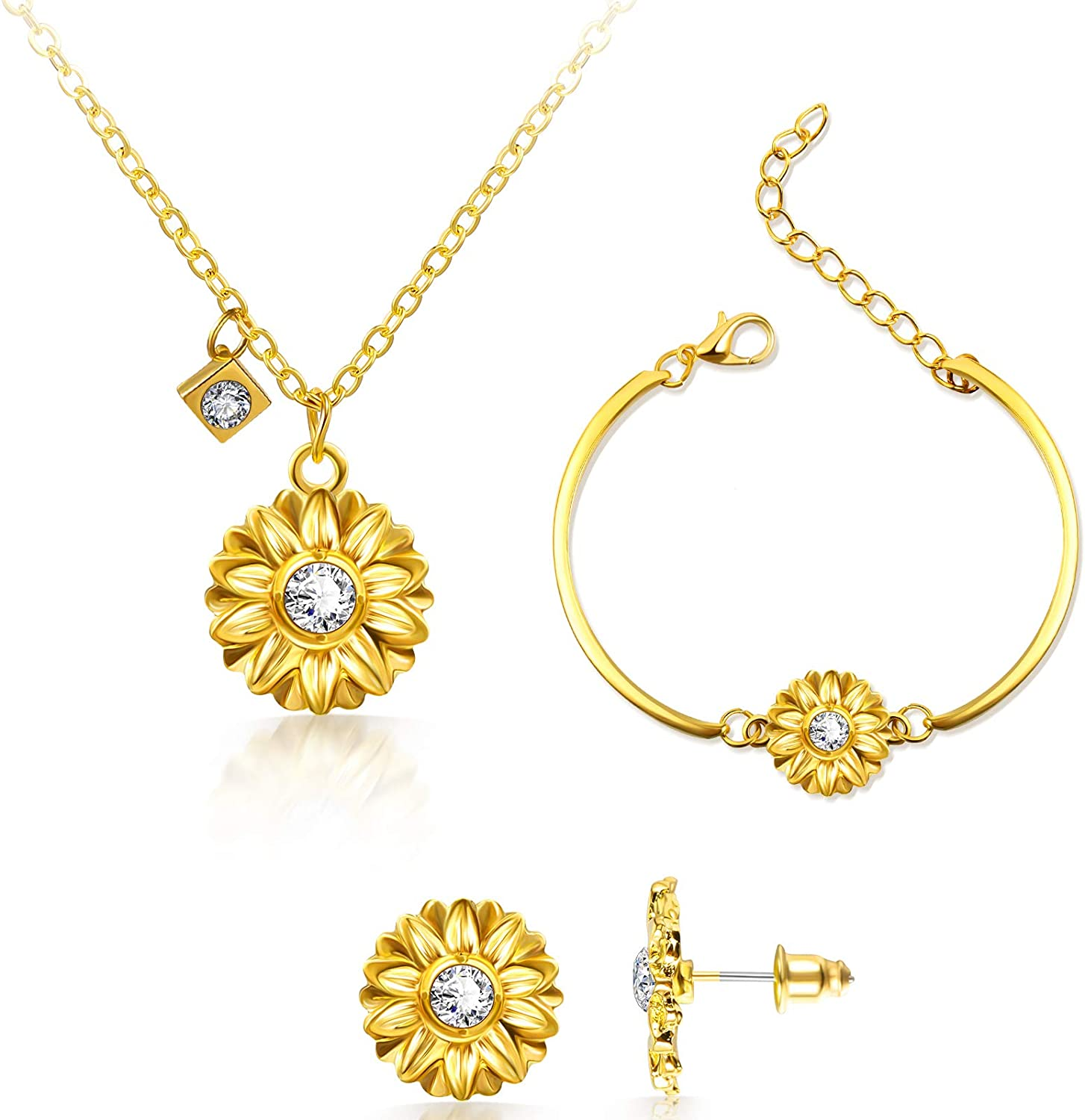 Yaomiao Sunflower Jewelry Accessories Set, Include Adjustable Sunflower Pendant Necklace Bracelets and Stud Earrings for Women Friends Friendship Valentine's Day Christmas Supplies