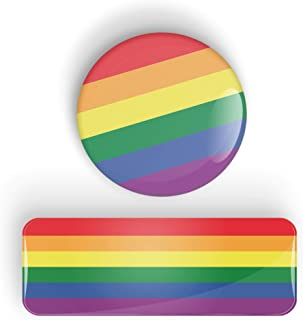 LGBT Gay Pride Flag pin badge button or magnet, Orgullo bandera pin insignia botón o imán