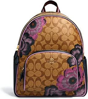 Womens Court Backpack In Signature Canvas With Kaffe Fassett Print Khaki Purple Multi