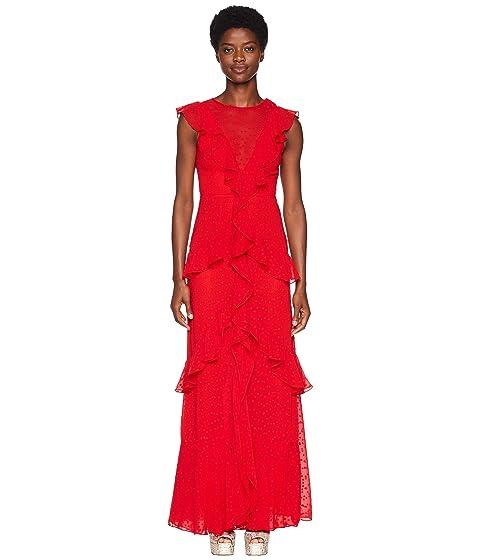 ML Monique Lhuillier Spotted Chiffon Gown