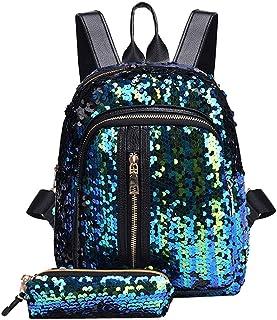 Wultia - Panelled Bag Fashion Girl Sequins School Bag Backpack Travel Shoulder Bag+Clutch Mochila Mujer *0.92 Sky Blue