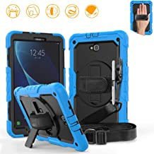 DUNNO Samsung Galaxy Tab A 10.1 Case - Heavy Duty Rugged Full Body with Built-in Kickstand & Built-in Screen Protector Shockproof for Galaxy Tablet SM-T580 T585 T587 (Light Blue/Black)
