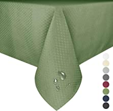 Eforgift Spill Proof Tablecloth Polyester Fabric Sage Green Table Covers for Kitchen Dining Table, Soft and Durable, 52 x 70 inches