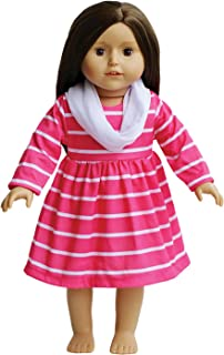 Pink Striped Dress with Shawl Fits all 18 inch Dolls