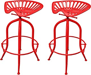 NACH Vintage Style Adjustable Tractor Seat Bar Stool with Circle Base Foot Rest , 19.5x14.5x26-33
