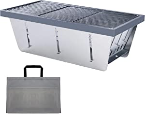 DAUNTLESS 304 Stainless Steel Food Grade Portable Charcoal Barbecue Grills, Foldable Grill Smoker Box for Outdoor Grill, Camping Grill and Backyard Grill (Grill)