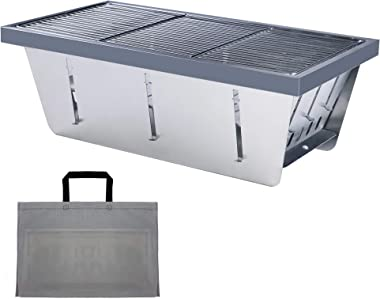 DAUNTLESS 304 Stainless Steel Food Grade Portable Charcoal Barbecue Grills, Foldable Grill Smoker Box for Outdoor Grill, Camp