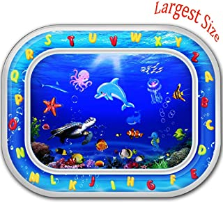 "Baby Water Play Mat Tummy Time Preschool Learning Toys- Autbye BPA Free Largest Size 30""x24"" Early Years Fill n Fun Water Play Mat Toddlers Gifts Educational Toy for 1 2 3 Years Old Boy and Girl"