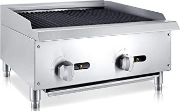 Chef's Exclusive CE777 Commercial Countertop Stainless Steel 24 Inch Char Rock Char Broiler Charbroiler Grill Natural Gas, 70,000 BTU Per Hour 20KW, Metallic