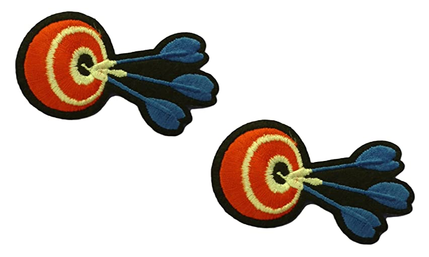 2 pieces DARTS Iron On Patch Applique Motif Fabric Children Games Dartboard Decal 2.7 x 1.6 inches (6.8 x 4 cm)