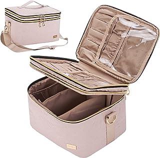 کیف لوازم آرایشی دو لایه NISHEL با کمربند شانه ، سازنده آرایش برای بسیاری از برس ها ، کیف لوازم آرایشی مسافرتی بزرگ برای زنان و دختران ، صورتی