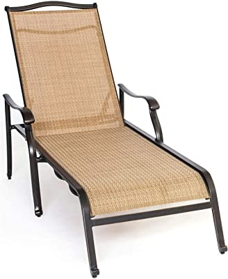Hanover MONCHS3PC-RT-SU Monaco 4-Piece Set with 2 Sling Chaise Lounge Chairs Outdoor Furniture, Tan