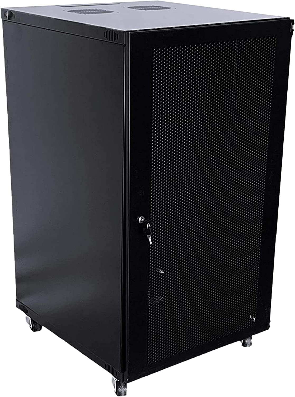18U Wall-Mounted Network Server Cabinet Rack-Mount Chassis with Lockable Ventilation Mesh Door
