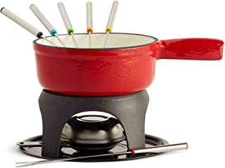 VonShef Swiss Fondue Set, Cast Iron Fondue Pot and 6 Fondue Forks Included, Ideal for a Cheese or Chocolate Fondue, 1.1 Qu...