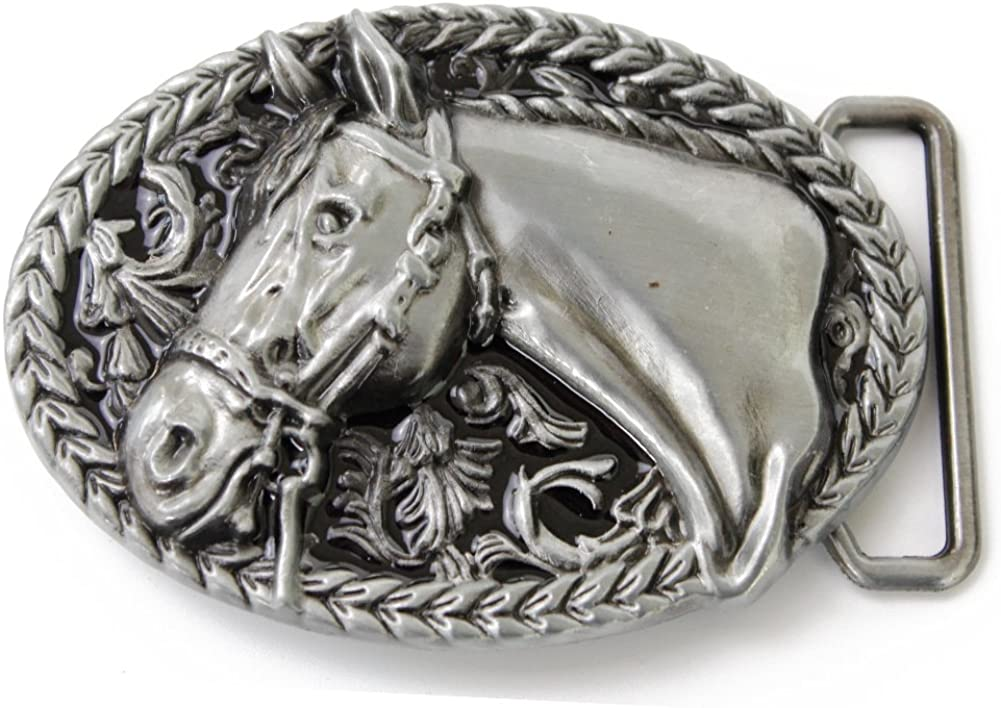 Red Indian Horse Head Rodeo Belt Buckle-For Cowboys-Western Accessories